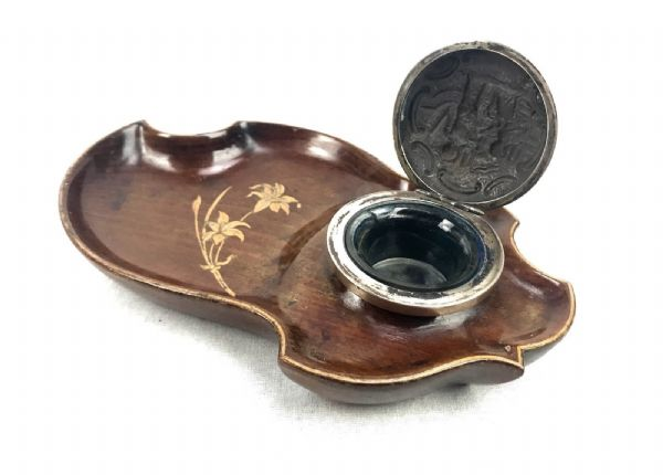 Antique Italian Olive Wood Desk Stand / Tidy / Inkwell / Sorrento Ware /